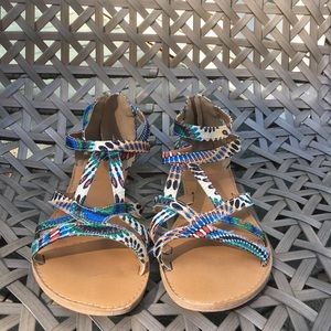 Mosaic colored sandals